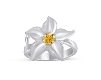 Custom One Stone Flower Ring in Sterling Silver.