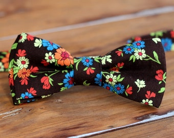 Mens Bow Tie - Orange and Blue on Brown Floral Cotton Bowtie - bow tie for men & teens - wedding bow ties - men's bowties - pre tied bow tie