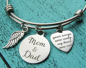 Dad and Mom memorial gift bracelet, loss of Mom & Dad parents, sympathy gift mourning, your wings were ready, remembrance gift Father Mother
