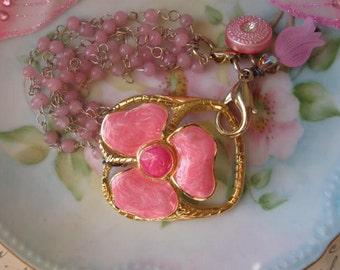 SALE Island Flowers.vintage assemblage  flower charm summertime bracelet