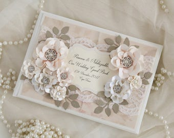 Vintage lace guest book, blush pink wedding guest book, wedding sign book, vintage wedding , blush pink and gold wedding decorations