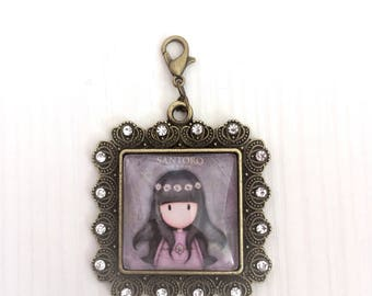 Cute girl, pendant, Medallion, rhinestone, bronze, carabiner, purple, unique