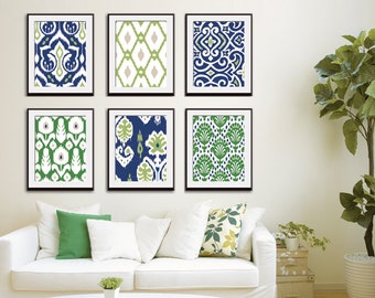Ikat and Geometric Patterns (Series G6) Set of 6 - Art Prints (Featured in Deep Blue, Basil and Clover) Blue Ikat Wall Art