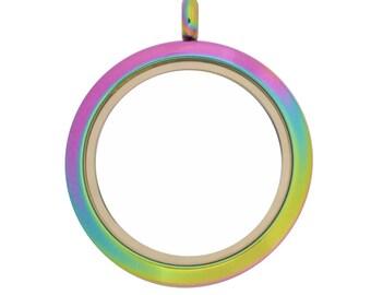 30mm Twist Multicolor Stainless Steel Floating Locket, Rainbow Locket (L-30M-PL-TW) USA Seller