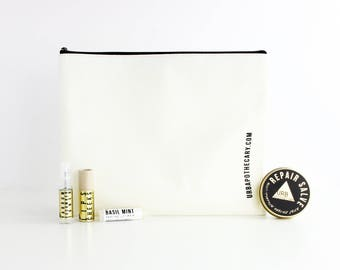 CANVAS COSMETIC ZIPPER Bag // Large Travel Toiletries Bag // Storage Pouch // Catch All / 11 13/16 Inch x 9 7/16 Inch