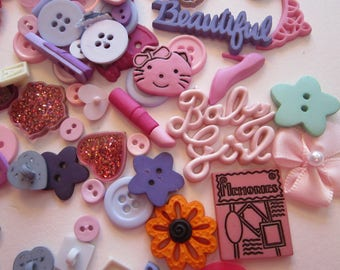 plastic buttons and embellishments - 300 pieces - buttons and shankless buttons for embellishment