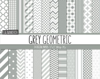 Geometric Digital Paper Package with Grey Backgrounds. Printable Papers Set - Gray Geometrical Patterns. Digital Scrapbook. Instant Download