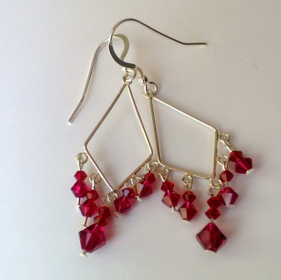 Red Crystal Earrings , Red Chandelier Earrings, Crystal Dangle Earrings, Silver Geometric Earrings
