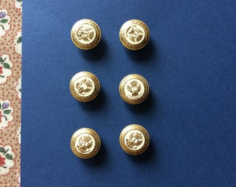 """Vintage 6 Gold and White Round Buttons 5/8"""" Metal - Shield Crest Military Look"""