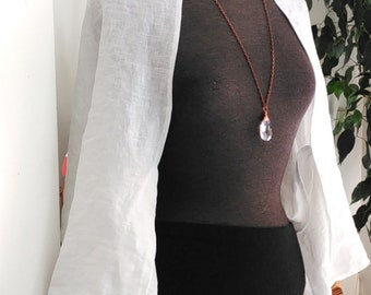 Linen Shrug.  White Linen. Linen Clothing. Wedding shrug. Ready to ship.  Jtrove.  One size.
