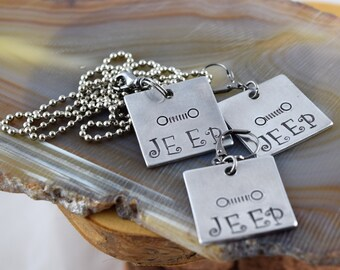 Jeep Grille hand stamped metal pendant charm necklace and matching leverback earrings OIIIIIIIO