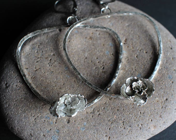 Sterling silver hoop earrings with cast succulents