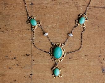 Antique 1910s Art Nouveau Peking Glass and baroque pearl festoon necklace