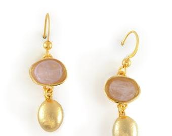 Gold Dangle Earring, Gold Gemstone Dangle Earring, Gemstone Earring, Gold Gem Earring, Dangle Earring, Gold Dangling Earring, Drop Earring