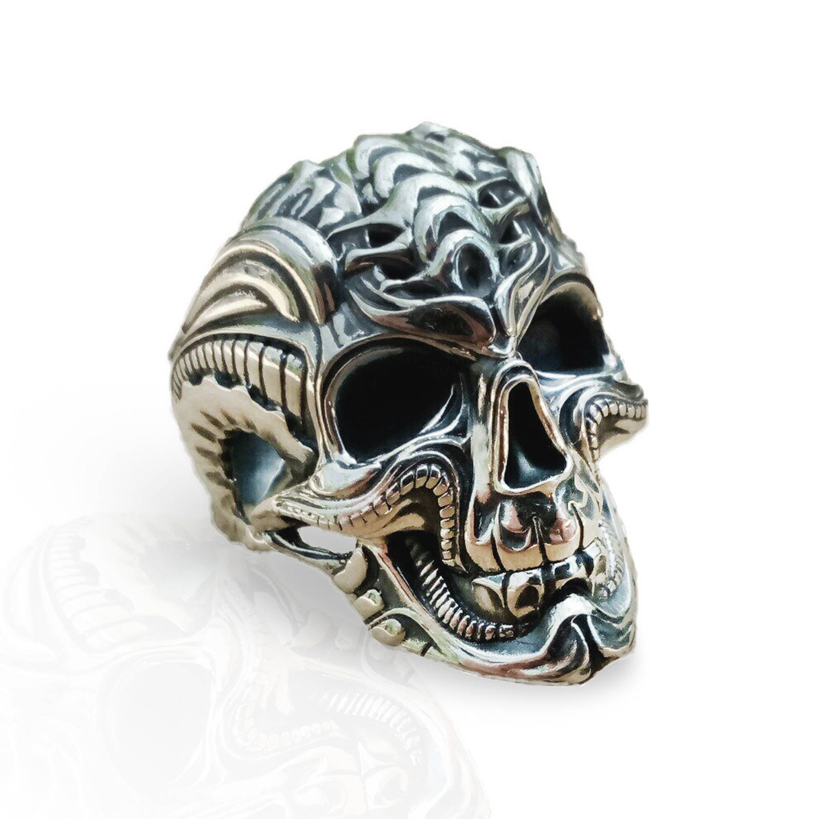 golden bikers men gold silver stainless the head cool hollow buy steel rings ring skull biker for online products ravens band jewelry black skeleton mens goth