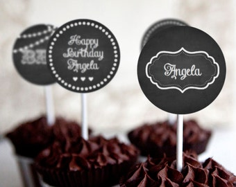 Chalkboard Cupcake Toppers - Set of 12 - Instantly Downloadable and Editable File - Personalize and Print at home with Adobe Reader
