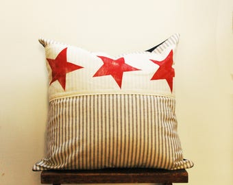 Fourth of July Hand Printed and Individually Created Patriotic flag Pillow Cover, red white and blue, Americana, Holiday, 4th of July