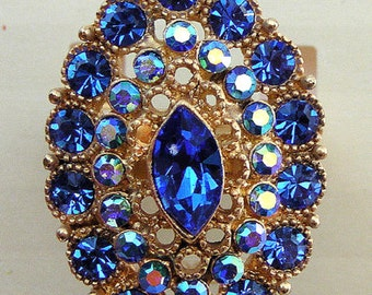 1928 Jewelry  Sapphire Color Crystal Ring ~ Size 8
