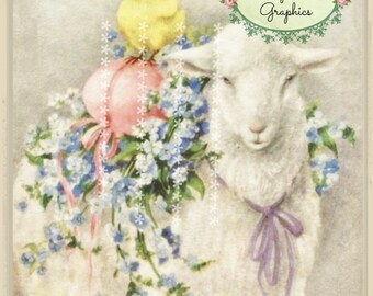 Vintage French Easter lamb and chick digital download ECS buy 3 get one free romantic cottage single image