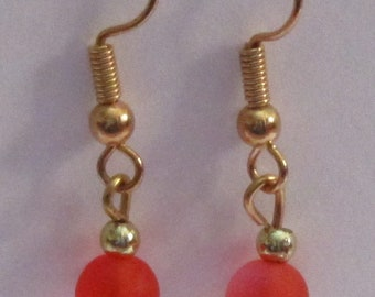 Short Dangle Orange Resin Bead Earrings in Gold or Silver