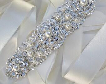 Pearl Bridal Belt, wedding dress Sash, Bridal sash, wedding sash, Wedding dress belt, Ribbon sash, Wedding belt, Pearl wedding sash