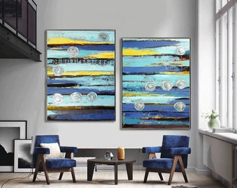 Abstract Painting,  48''x 36'' HUGE Original Textured Palette Knife Painting,   Ready to Hang