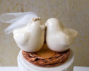 Love Bird Wedding Cake Topper with Veil