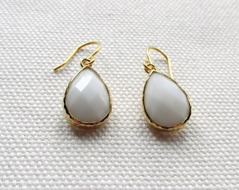 White Dangle Earrings White Stone and Gold Drop Earrings Faceted Wedding Bridesmaid
