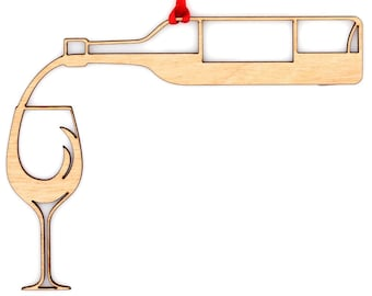 Wooden Pouring Wine Ornament
