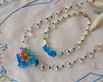 Clear Rock Crystals, Pearls and Vintage Glass Flowers Necklace and Bracelet Set