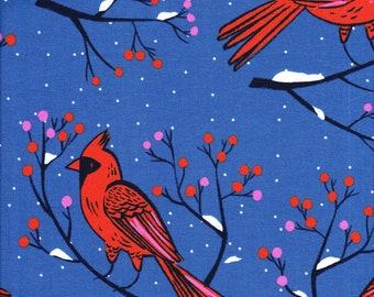Cotton + Steel Sarah Watts Frost Winter Cardinals in Blue - Half Yard