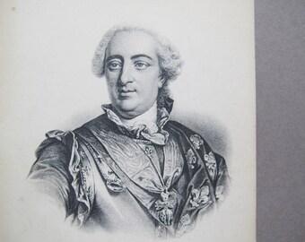 Louis XV postcard / French Etching postcard / French King postcard / Antique French Renaissance postcard / ND Phot