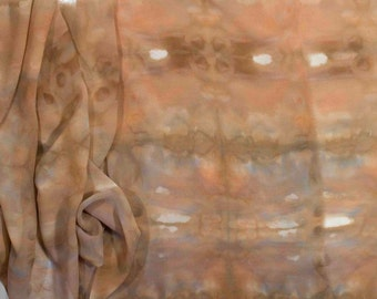 Hand Dyed Silk - Nuno - Scarf - Silk Crepe de Chine - Chocolate Brown, Taupe, Biege and Blue - Shibori - Wearable art Cloth - Shawl