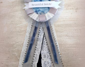 Beautiful Bride. Tulle, Lace, Velvet Prize Ribbon Pin