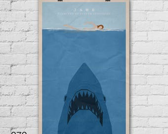 Jaws Movie Poster. Steven Spielberg. Pop Culture and Modern Wall Decor, 11x17, 13x19, 16x20, 18x24, A1 Size. Select a size. Item no. 079