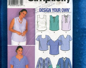 Simplicity 9585 Pullover Blouses with Your Choice of Neckline & Sleeve Size 18W to 24W UNCUT