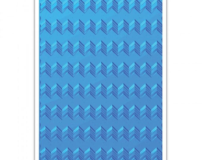 New! Sizzix 3-D Textured Impressions Embossing Folder - Geometric Chevrons 661949