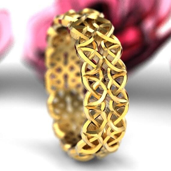 Gold Wedding Ring, Celtic Wedding Ring, Dara Celtic Knot Ring, Pierced Metal, Celtic Knotwork, 10K 14K 18K Palladium, Custom Ring Size Cr638