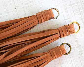 Saddle Tan Deerskin Leather Tassel, Handmade Accessory Tassel, Necklace Tassel, DreamJewelrySupplies, 90mm, 1 Piece