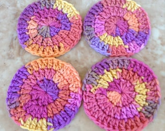 Monkberry Moon Delight Crocheted Coasters -- Set of 4