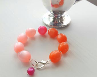 sherbet bracelet - vintage lucite and silverplated brass - orange, pink, fuchsia, moonglow