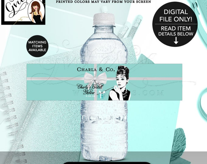 """Water Bottle Labels Bridal Shower, Audrey Hepburn Party, Decorations, Label, Stickers, Decor, Breakfast at, Bride and Co, 8x2"""" 5 Per/Sheet."""