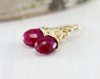 Genuine Ruby Earrings, 14k Gold Filled Raspberry Red Genuine Yellow Gold July Birthstone Dangle Earrings Wire Wrapped