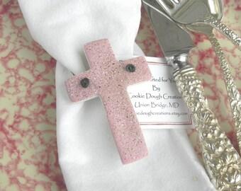 Cross Baptism Favors Set of 10 Christening / Easter Napkin Rings Salt Dough Ornaments
