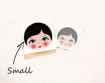 Babushka Matryoshka Cloth Face, Fabric Face, Doll making supplies, Small