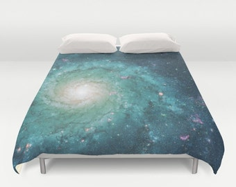 Teal Galaxy Duvet Cover or comforter - stars, nebula, night sky, bedroom linens, blue green, milky way, universe, decor