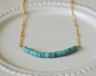 Raw Turquoise Bead Bar Layering Danity Delicate Necklace