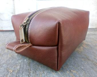 Leather Toiletry Bag, Shaving kit,  Leather Dopp Kit, Mens Travel Bag, Free Personalized,Brown/Burgundy, Groomsmen Dopp bag
