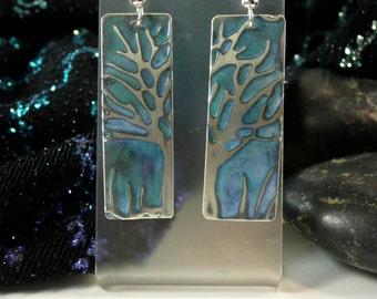 Tree of Life jewelry earrings, embossed jewelry green patina, handmade earrings, moon heart studios, nature jewelry, accessories trees