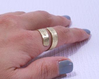 Custom Coordinates Ring // Gold Latitude Longitude Ring // Personalized Landmark Jewelry // Personalized Keepsake // Gift Under 50